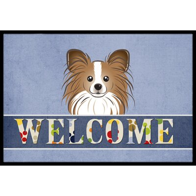 Papillon Welcome Doormat Rug Size: 16 x 23