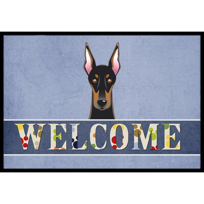 Doberman Welcome Doormat Rug Size: 16 x 23