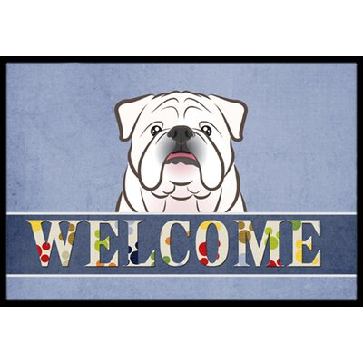 English Bulldog Welcome Doormat Mat Size: 2 x 3, Color: White