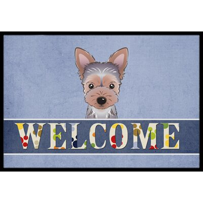 Yorkie Puppy Welcome Doormat Rug Size: 16 x 23