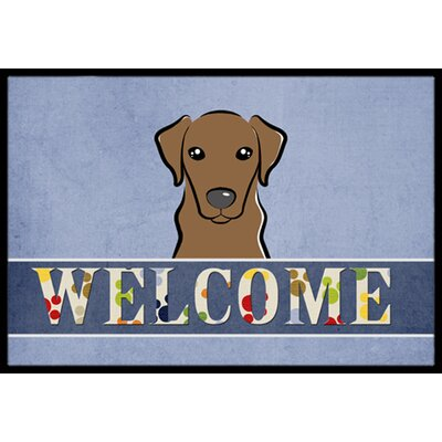 Labrador Welcome Doormat Color: Chocolate, Rug Size: 16 x 23