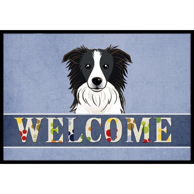 Border Collie Welcome Doormat Rug Size: 16 x 23