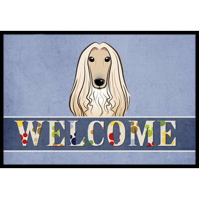 Afghan Hound Welcome Doormat Rug Size: 2 x 3