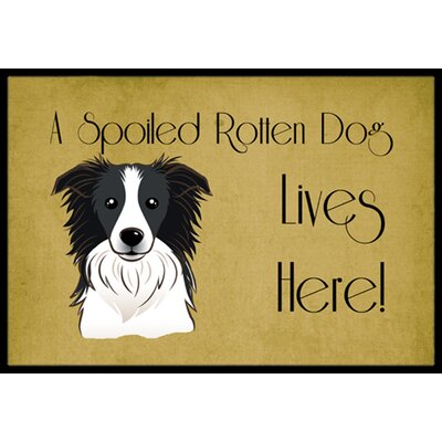 Border Collie Spoiled Dog Lives Here Doormat Rug Size: 16 x 23