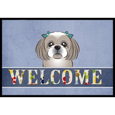 Shih Tzu Welcome Doormat Rug Size: 2 x 3, Color: Gray Silver