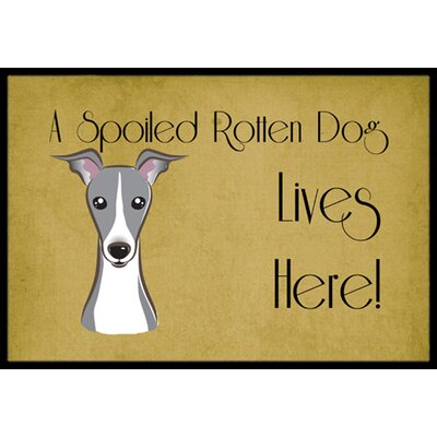 Italian Greyhound Spoiled Dog Lives Here Doormat Mat Size: 2 x 3