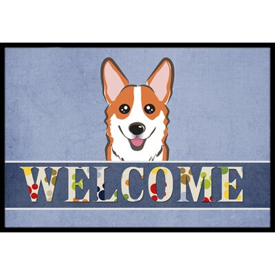 Corgi Welcome Doormat Rug Size: 16 x 23, Color: Red