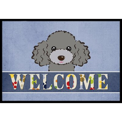Silver Gray Poodle Welcome Doormat Mat Size: 16 x 23