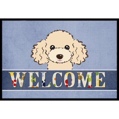 Buff Poodle Welcome Doormat Rug Size: 2 x 3