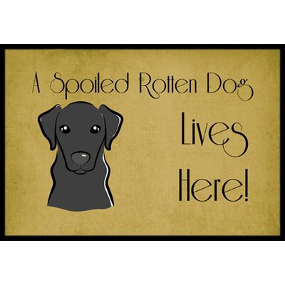 Labrador Spoiled Dog Lives Here Doormat Rug Size: 2 x 3, Color: Black