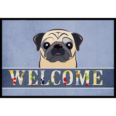 Pug Welcome Doormat Rug Size: 16 x 23, Color: Fawn