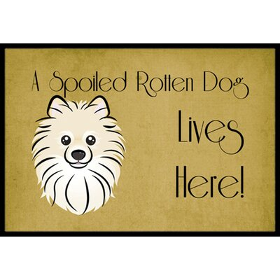 Pomeranian Spoiled Dog Lives Here Doormat Mat Size: 16 x 23