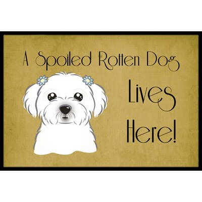Maltese Spoiled Dog Lives Here Doormat Mat Size: 16 x 23