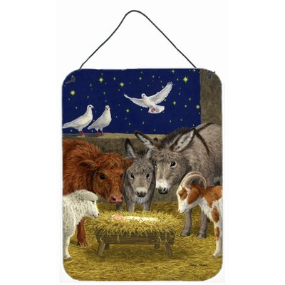 Nativity Scene with Animals by Sarah Adams Painting Print Plaque