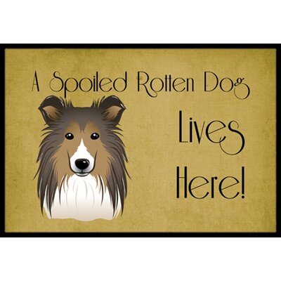 Sheltie Spoiled Dog Lives Here Doormat Rug Size: 16 x 23
