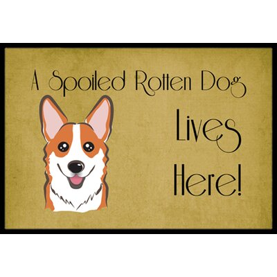 Corgi Spoiled Dog Lives Here Doormat Rug Size: 2 x 3, Color: Red