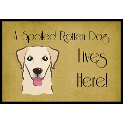 Golden Retriever Spoiled Dog Lives Here Doormat Mat Size: 16 x 23