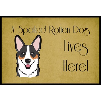 Corgi Spoiled Dog Lives Here Doormat Rug Size: 16 x 23, Color: Gray/White/Brown