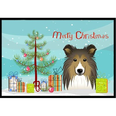 Christmas Tree and Sheltie Doormat Rug Size: 16 x 23