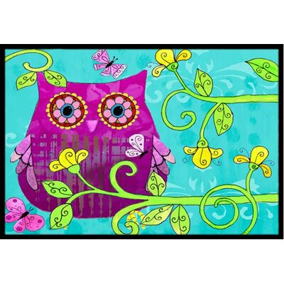 Sittin in the Flowers Owl Doormat Rug Size: 2 x 3