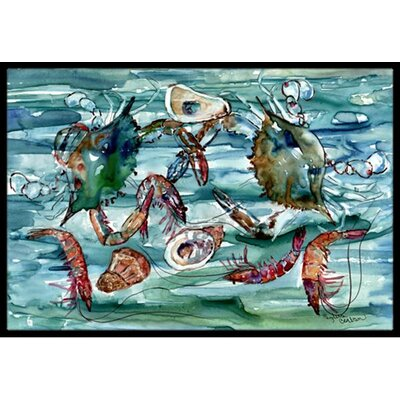 Crabs, Shrimp and Oysters in Water Doormat Rug Size: 2 x 3