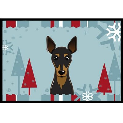 Winter Holiday Min Pin Doormat Mat Size: 2 x 3