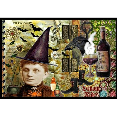 Broom Rides and Spells Halloween Doormat Rug Size: 16 x 23