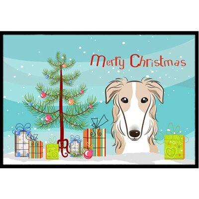 Christmas Tree and Borzoi Doormat Rug Size: 2 x 3