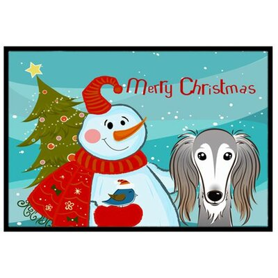 Snowman with Saluki Doormat Rug Size: 16 x 23