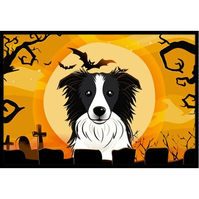 Halloween Border Collie Doormat Rug Size: 2 x 3