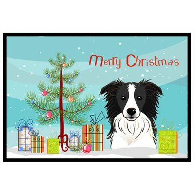 Christmas Tree and Border Collie Doormat Rug Size: 16 x 23