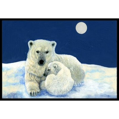 Polar Bears Moonlight Snuggle Doormat Mat Size: 2 x 3