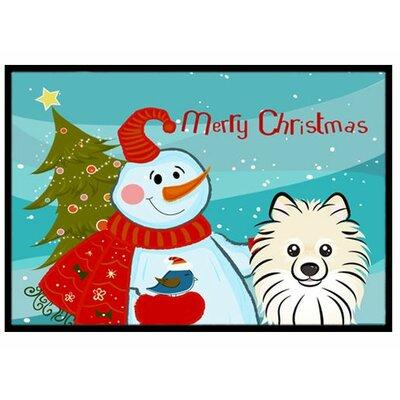 Snowman with Pomeranian Doormat Rug Size: 16 x 23