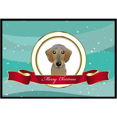 Wirehaired Dachshund Merry Christmas Doormat Mat Size: 16 x 23