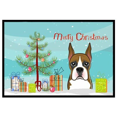 Christmas Tree and Boxer Doormat Mat Size: 2 x 3