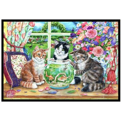 Cats Just Looking in the fish bowl Doormat Rug Size: 2 x 3