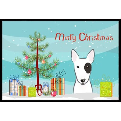 Christmas Tree and Bull Terrier Doormat Mat Size: 2 x 3
