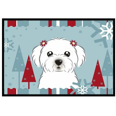 Winter Holiday Maltese Doormat Rug Size: 16 x 23