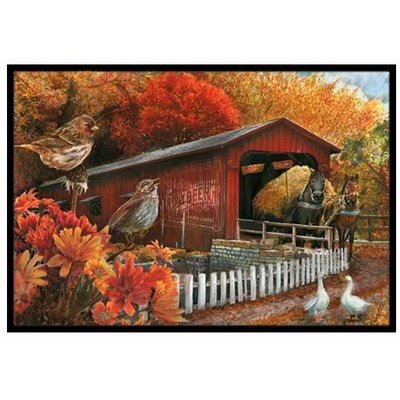 Fall Covered Bridge Doormat Rug Size: 2 x 3