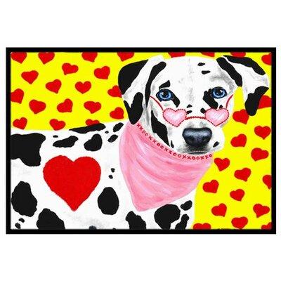 Hearts and Dalmatian Doormat Mat Size: 2 x 3