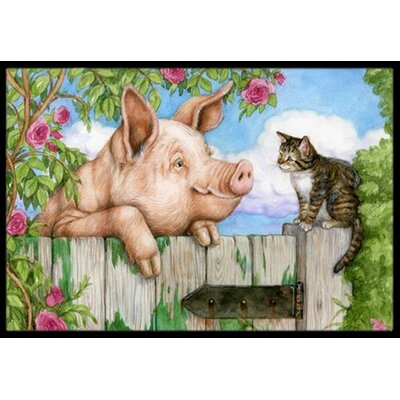 Pig at the Gate with the Cat Doormat Rug Size: 2 x 3