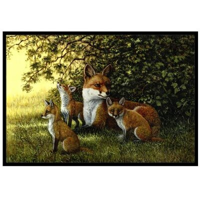 Foxes Resting under the Tree Doormat Mat Size: 16 x 23