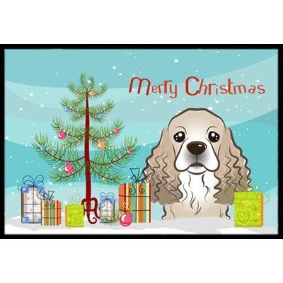 Christmas Tree and Cocker Spaniel Doormat Mat Size: 2 x 3