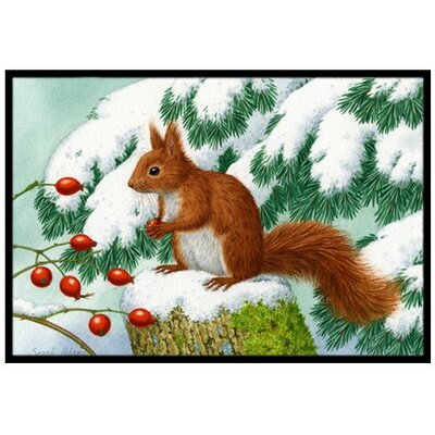 Winter Red Squirrel Doormat Rug Size: 2 x 3