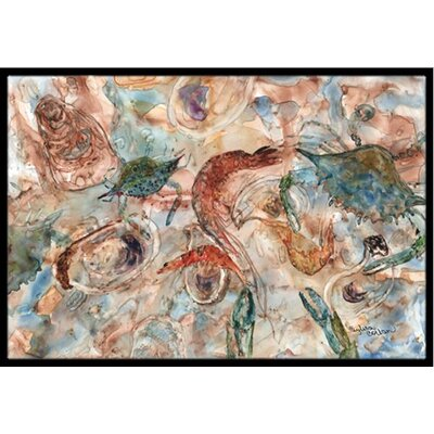 Crabs, Shrimp and Oysters on the Loose Doormat Mat Size: 16 x 23