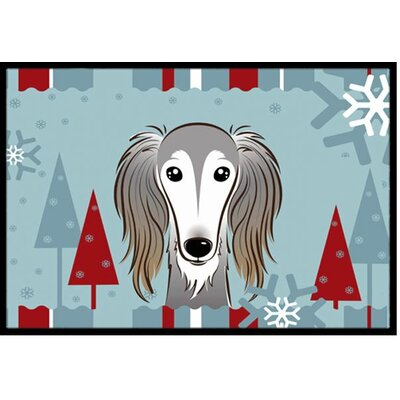Winter Holiday Saluki Doormat Rug Size: 16 x 23