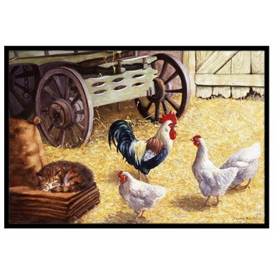 Rooster and Hens Chickens in the Barn Doormat Mat Size: 16 x 23