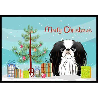 Christmas Tree and Japanese Chin Doormat Mat Size: 2 x 3