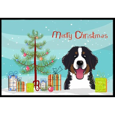 Christmas Tree and Bernese Mountain Dog Doormat Mat Size: 2 x 3