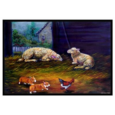 Corgi Chaos in the Barn with Sheep Doormat Mat Size: 2 x 3